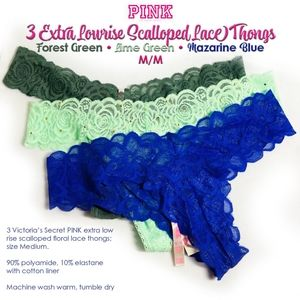 Three Pairs of Extra Lowrise Scalloped Lace Thongs